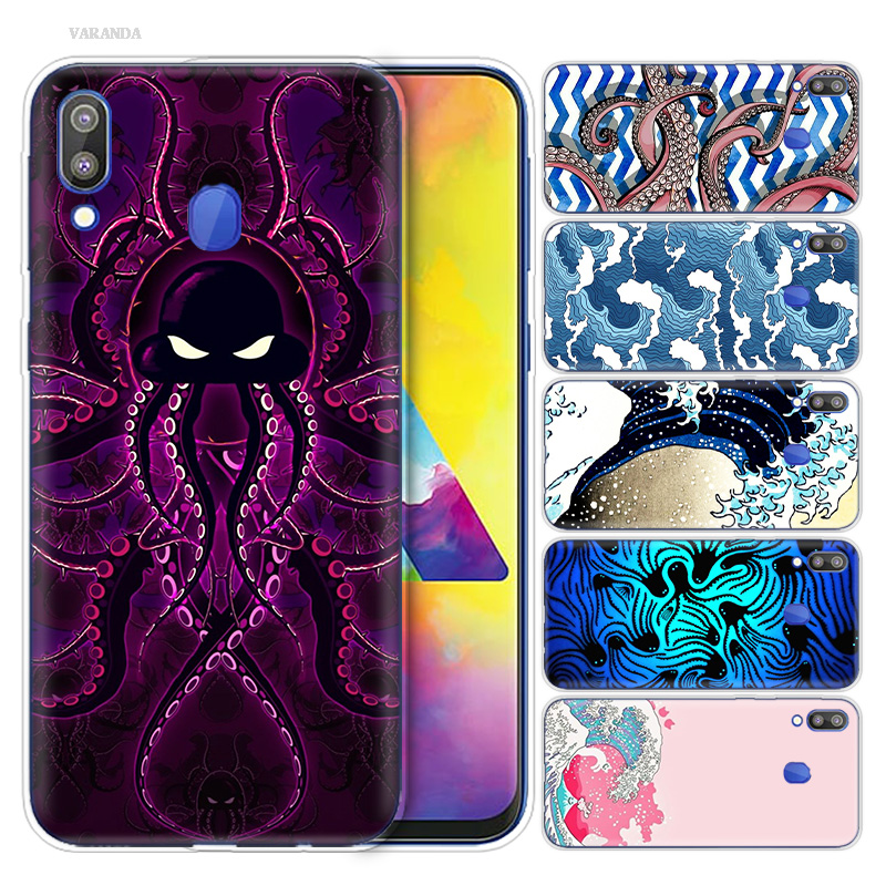 Octopus And Wave Print TPU Case for Samsung Galaxy S10 S10e S10 5G Plus M10 M20 M30 A10 A20 A30 A40 A50 A70 Case Phone Accessory
