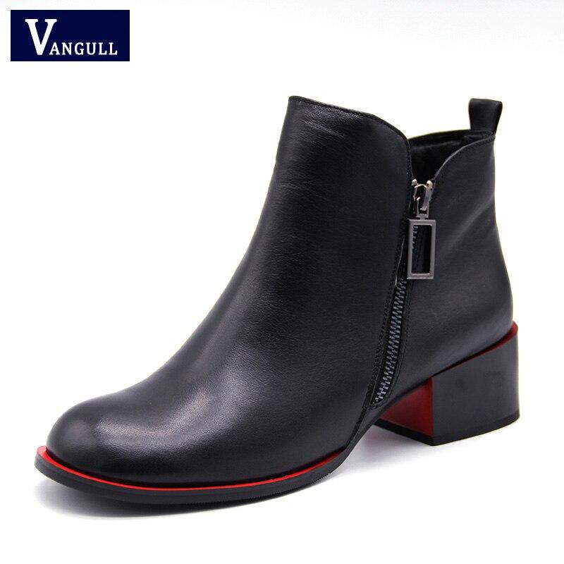 Vangull/зимние женские ботильоны из натуральной кожи на квадратном каблуке с круглым носком и пряжкой, ботинки-оксфорды на каблуке «рюмочка», п...