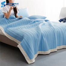 3PCS Brief Solid Bed Cover Set Warm Comfortable Pillow Cases Blue Pink Green Blankets Stripe Double Quilted Bedspreads 200*230cm
