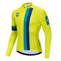 2019 ブラジルサイクリングジャージー長袖冬フリース & なしフリースサイクリング衣類反射ジッパー 4 ポケット