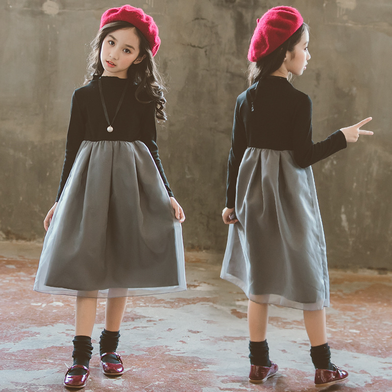 Autumn Toddler Girls Dresses Long Sleeves Clothes Long Patchwork Dresses Princess Girl Clothing Party Spring Teenage Clothing grey side pockets cold shoulder long sleeves dresses