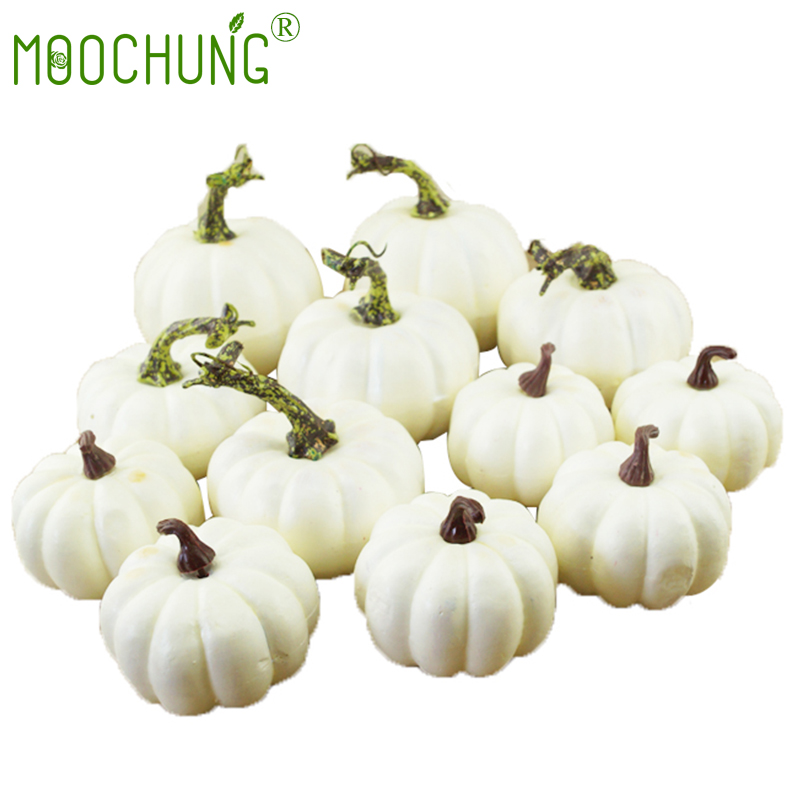 Us 16 29 Mini Artificial White Pumpkin Decor Fake Decorative Small Pumpkins For Harvest Halloween Fall Thanksgiving Wedding Decorating In Artificial