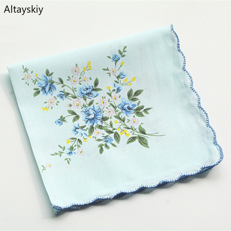 Handkerchiefs Women Printing Cotton Elegant Classic Pockets Square Kawaii Cute Handkerchief Womens National Style Simple Trendy