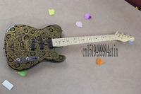 Free shipping new Telecaster electric guitar gold pattern Wong imported parts interchangeable with paragraph guitar @3