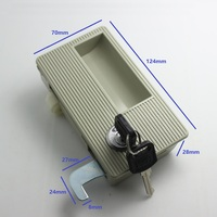 Plastic Flush Recessed Lock With Cam Hook And Roller For Sliding Door Closet File Cabinet Locker