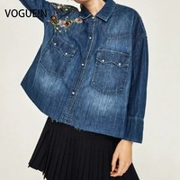 VOGUE!N New Womens Floral Embroidered Blue Denim Jeans Boyfriend Shirt Blouse Tops Size SML Wholesale