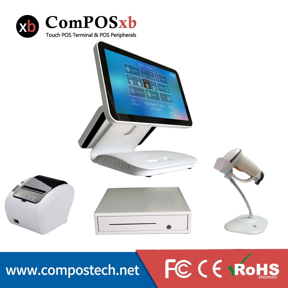 Free ShippingComPOSxb dual screen 15.6 Capacitive touch screen Restaurant POS System All In One With printer cash drawer scanner