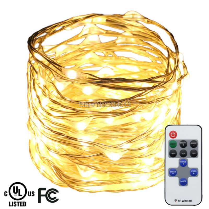 6M 120LEDs Silver Wire Warm White LED String Lights Garden Starry Lights Christmas Fairy Lights with Remote + UL CE Adapter