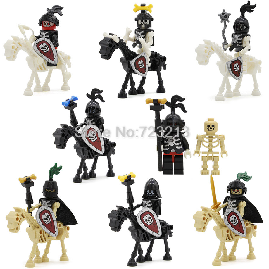 все цены на Single Sale Legoingly Skull Cavalry Corps Figure Set Military Mounted Troops Army Model Building Blocks kits Toys for Children
