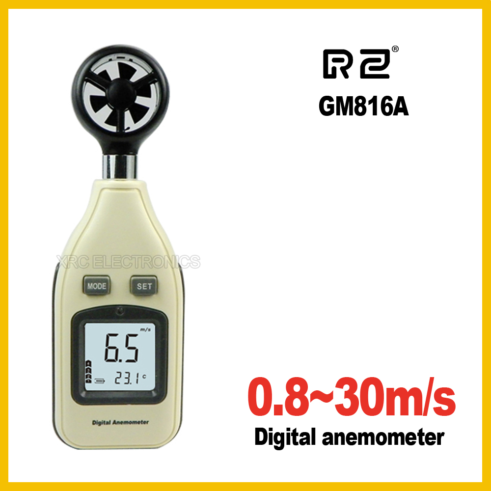 RZ GM816A LCD Digital Hand-held Wind Speed Gauge Meter Measure Anemometer Thermometer 30m/s (65MPH) free shipping gm8901 45m s 88mph lcd digital hand held wind speed gauge meter measure anemometer thermometer