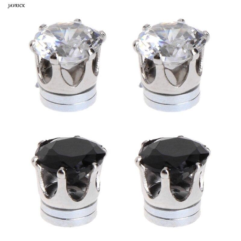 JAVRICK Cubic Zircon Crystal Rhinestone Ear Studs Earrings Magnetic Without Piercing Ears Jewelry Zircon For Men Women
