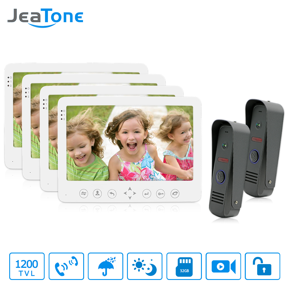 JeaTone 7 Color Monitor 1200TVL Dual Communication Video Door Phone Doorbell Intercom System IR Night Vision Outdoor Camera jeatone 10 hd wired video doorphone intercom kit 3 silver monitor doorbell with 2 ir night vision 2 8mm lens outdoor cameras