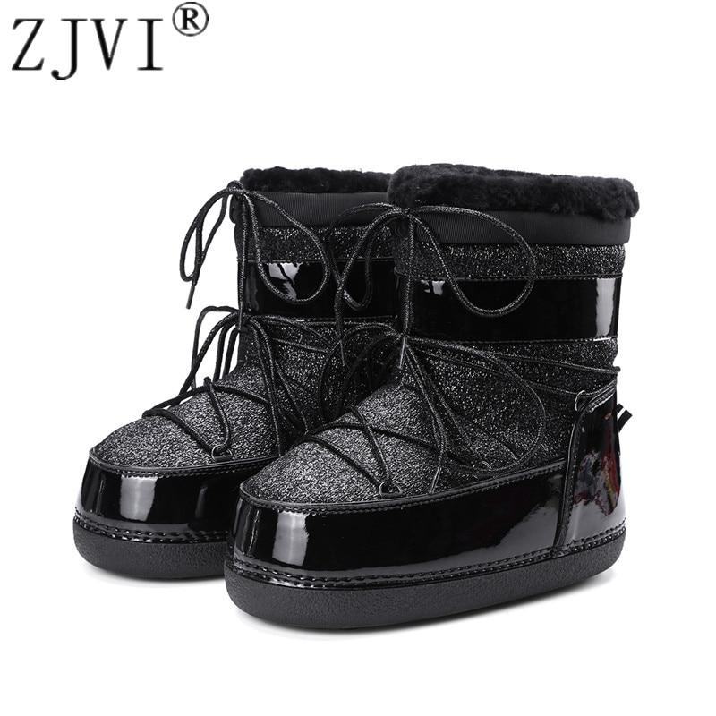 6f86c209dc17d Croix Noir Bottes Beling Plate Chaud Neige Liée Femmes L hiver Plat Dames  Warterproof 2019 argent forme Zjvi Femme Fourrure Chaussures Cheville ...