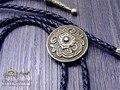 Bolo Tie camiseta Retro cadena de Toma el escudo poirot led cuerda de cuero collar Largo lazo de colgar