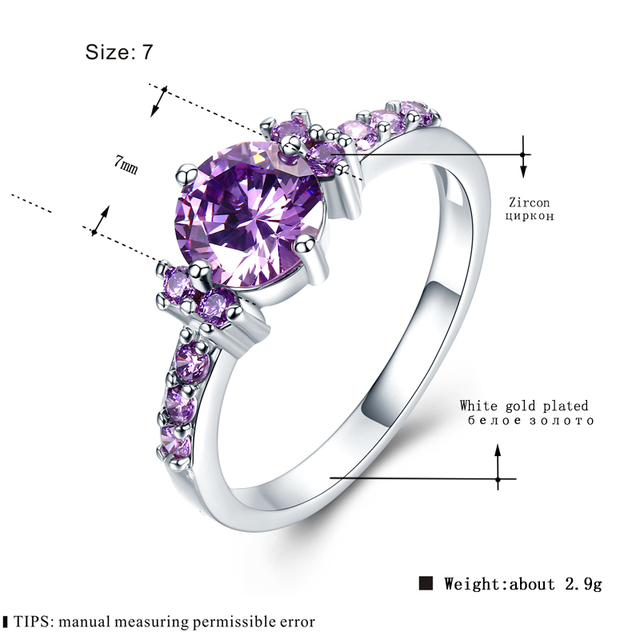 MDEAN White Gold Color Rings For Women Purple AAA Zircon Jewelry Engagement Wedding Size 5 6 7 8 9 10 11 12 MSR199 5