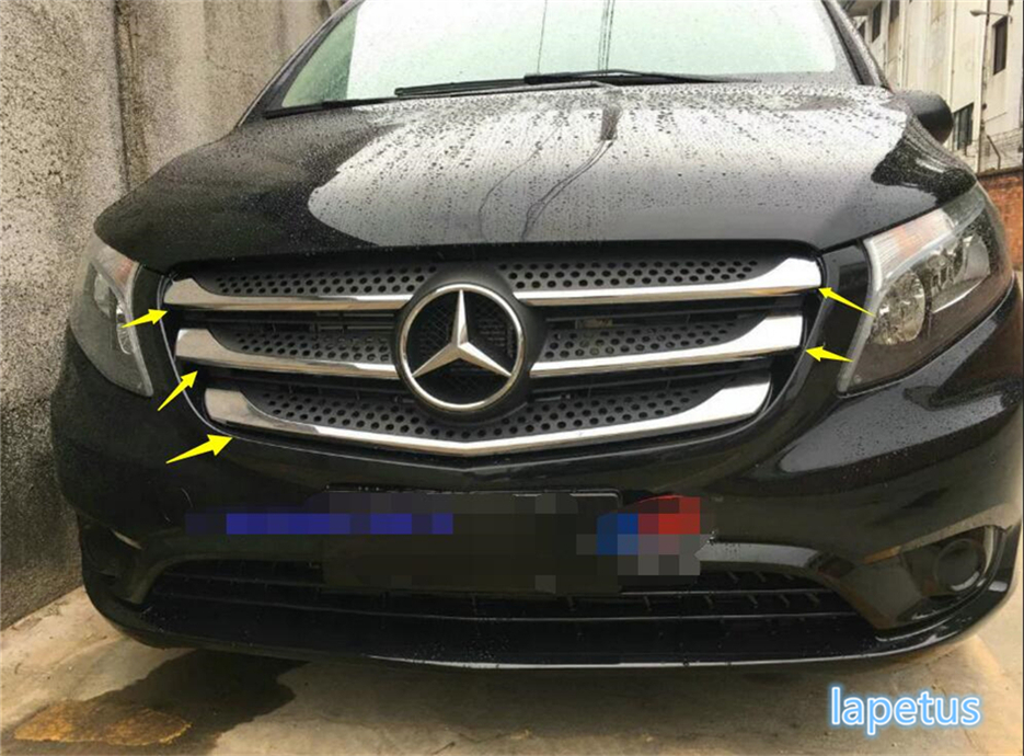 For Mercedes-Benz Vito W447 2014 2015 2016 2017 ABS Chrome Front Grille Grill Decoration Sticker Cover Trim 5 Pcs high quality new 13 for kia sorento 2013 2014 2015 abs chrome front under center grill grille cover trim hj