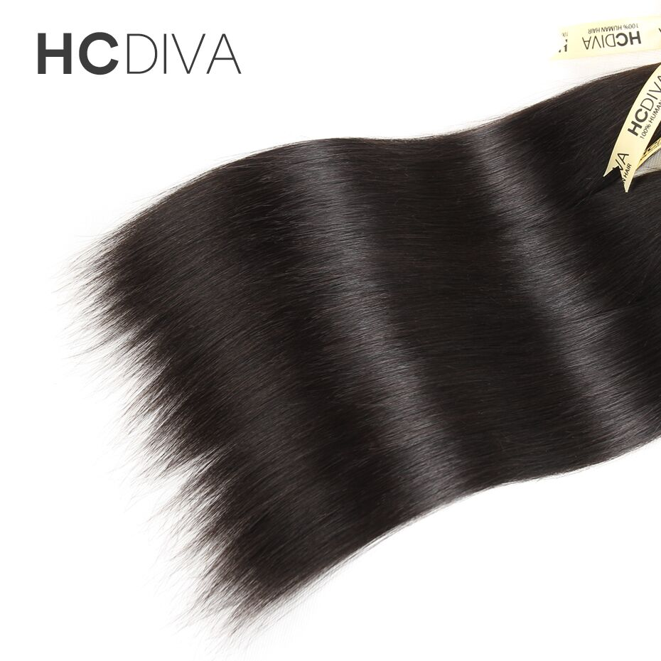 Peruvian Straight Human Hair With Closure DIY Wig No-Remy 3 Bundles With Closure Middle/Free/Three Part Lace Closure HCDIVA Hair