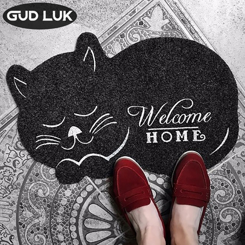 cat shape Floor Mat 38*58cm Anti-slip Floor Kitchen Carpet Toilet Tapete Water Absorption Non-slip Rug Porch Doormat CC-002