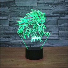 New 2016 Dragon Ball Goku 3D Light Wukong Led Lamp Colorful Nightlight for Kids Home Living Room Table Lampara Atmoshere 7 Color