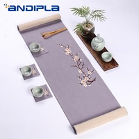 Japanese Style Linen Table Runner tablecloth Embroidery Plum Tea Ceremony Mats Kung Fu Tea Set Accessorie Creative Home Ornament