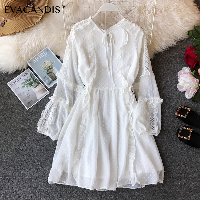 White Ruffle Lace Summer Dress Long Sleeve Hollow Out Sexy Patchwork Black Korean Tunic Spring Midi Chiffon Dress Women Vestidos