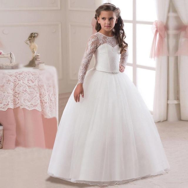Kids Girls Fancy Dress Crystal in Sashes Flower Long Dresses Children  Wedding Gowns Formal Prom Vestidos Baby Frocks for Girls 3da6d37e1da8