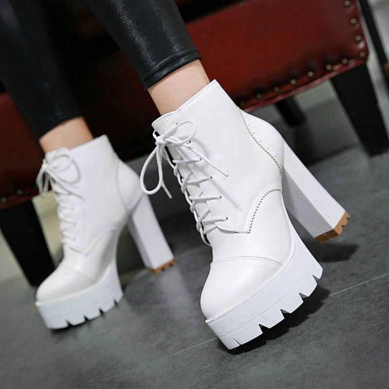 Kadın Moda Platformu kısa çizmeler Kalın Yüksek Topuk yarım çizmeler Pu Deri Lace Up Sonbahar Kış Kadın Ayakkabı 2018 Siyah Beyaz