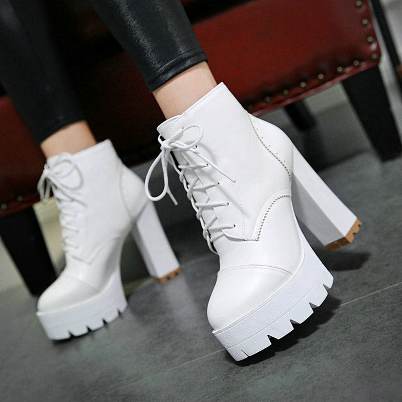 Women Fashion Platform Martin Boots Thick High Heel Ankle Boots Pu Leather Lace Up Autumn Winter Woman Shoes 2018 Black White