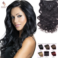 Full Head Clip In Human Hair Extensions #1B 7PCS/10PCS 70G-220G Clip In Human Hair Straight Virgin Hair Clip In Hair Extensions
