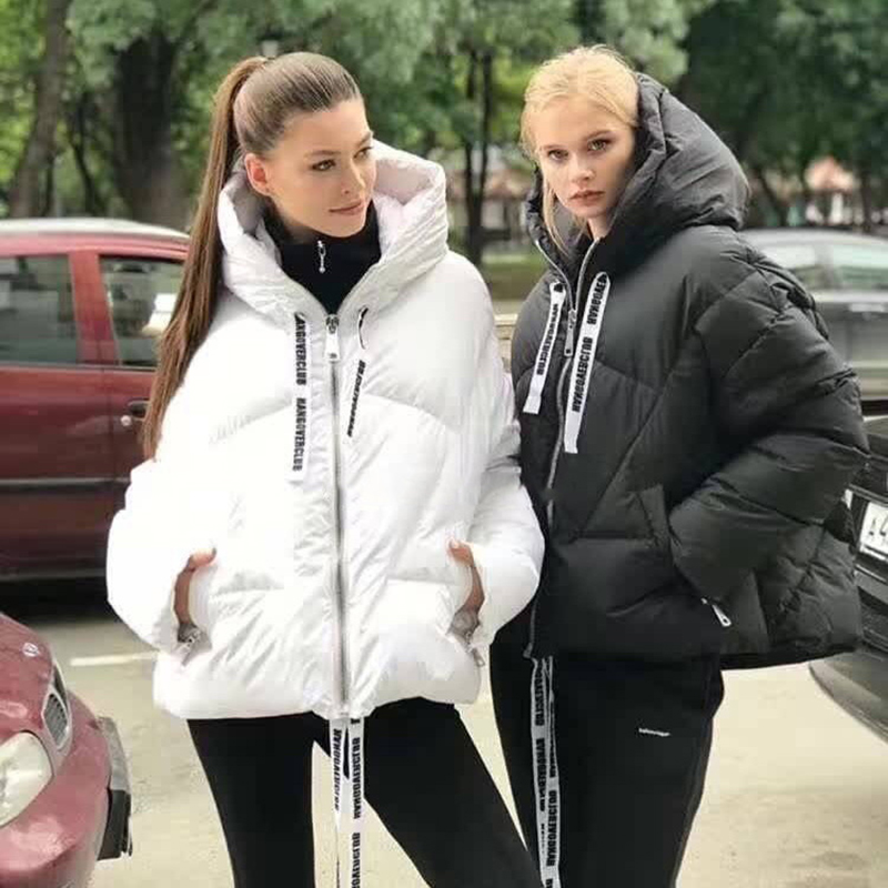 New Fashion Women   Down   Jacket Winter Warm White Duck   Down     Coat   Short wild-waisted Parka Female 2019 Thick   Down   Parka Womans