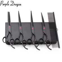 Z3103 5Pcs Suit 7 Purple Dragon Comb+Cutting+Thinning+Curved Shears Dogs Clipper Professional Pets Shears Grooming Scissors Set 6 5 inch purple dragon dog grooming cutting curved thinning scissors case safety rounded serrated tip pets shears set
