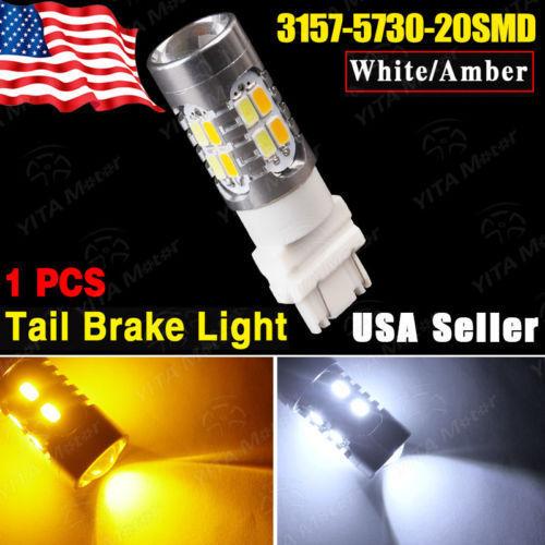 Dual Color 3157 60W 5730 High Power 20 led Switchback Light Bulbs White Parking DRL+Yellow Blinker Corner Lights External Light