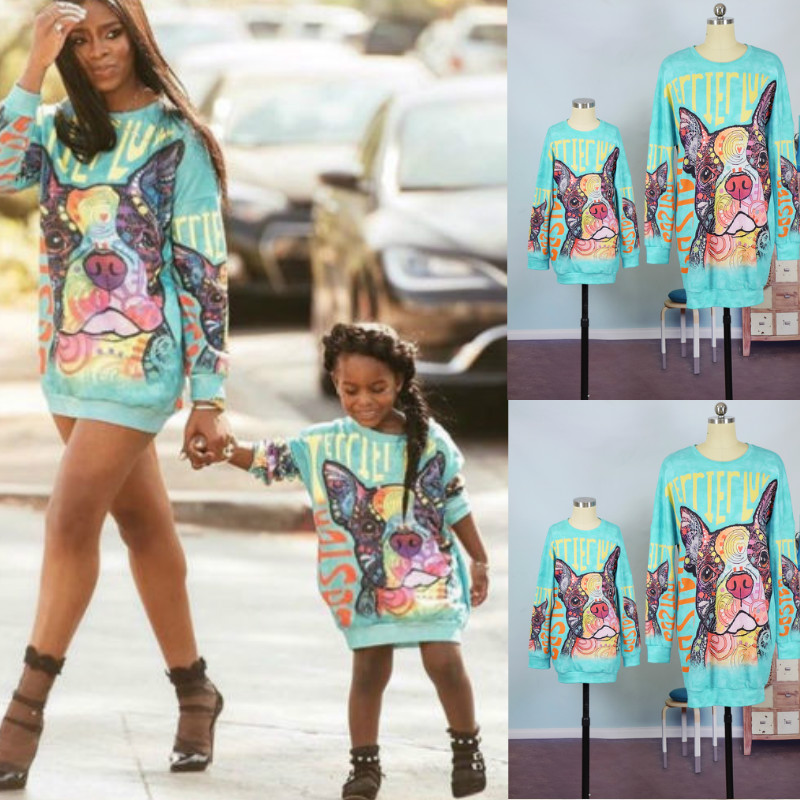 Family Matching Outfits 2019 Fashion Long Sleeve Cartoon T-shirt Dress Mother And Daughter Dresses Baby Girl Clothes