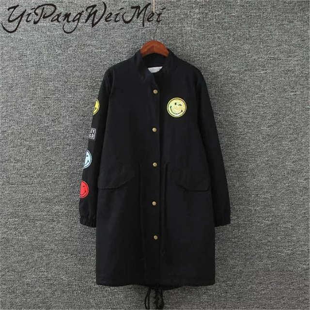 Yipangweimei Весна Плюс Размер Женщины Длинные Тренч Пальто Новая Мода С Длинным Рукавом Горячая Продажа Повседневная Колледж Стиль Женский Пальто