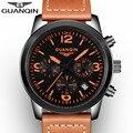 2017 top marca de lujo guanqin hombres relojes militares relogio masculino reloj hombre reloj deportivo correa de cuero de cuarzo reloj de un