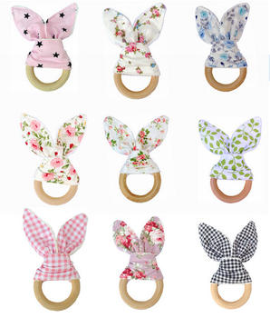 Baby Boy Bunny Ear Teether – Safe Organic Wood Teething Ring, Fish, Plaid, Color Choice, Shower Gift Infant (3-12 months) Shop by Age Teethers & Rattlers Toddler (1-3 years)