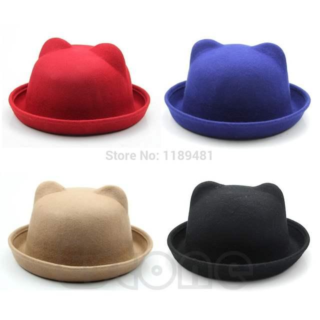 a030faa303 Online Shop Fashion Unisex Wool Parent-Child Women Fedora Bowler Hats Ear  Cap Derby Cat -Y107