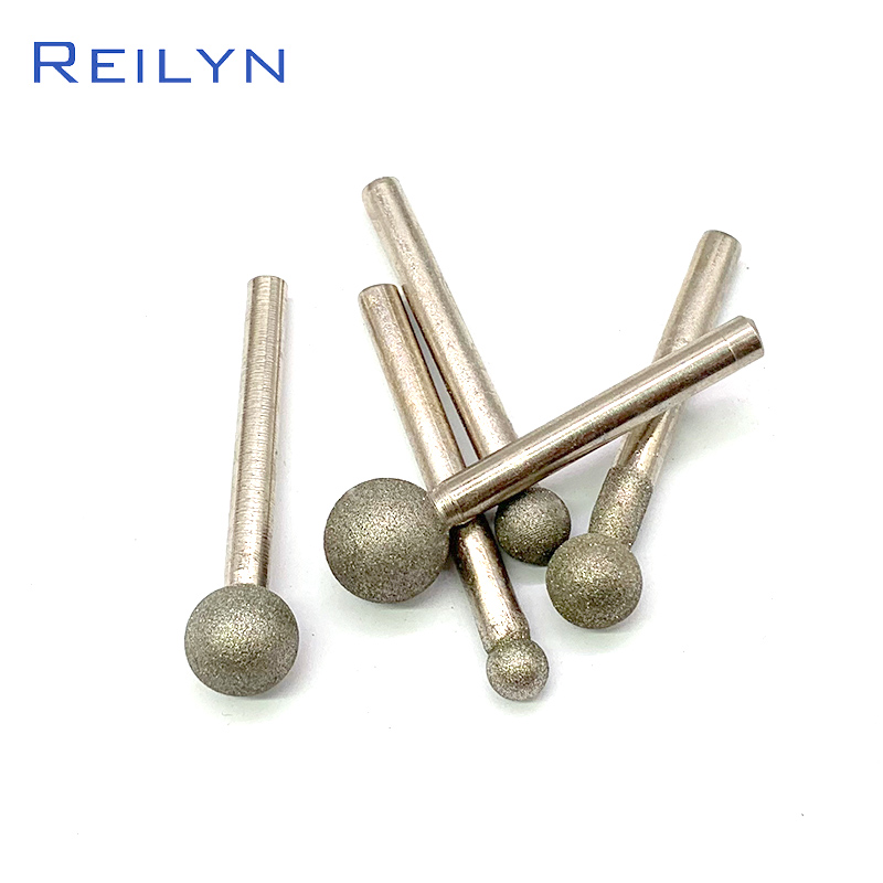 Reilyn Round Head 6mm Ball Point Grinding Head Emery Diamond Grinding Bits 120# 6mm-18mm Jade Stone Polishing Bits 1Pc
