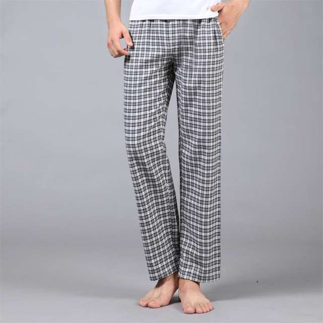 Thicken Plus Size 100% cotton sheer mens pants sleep bottoms keep warm simple autumn winter pyjamas home trousers for male
