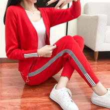 2 piece set women Suit femal 2019 new style autumn and winter fashion knit suit female long sleeve v-neck shirt +  pants sets