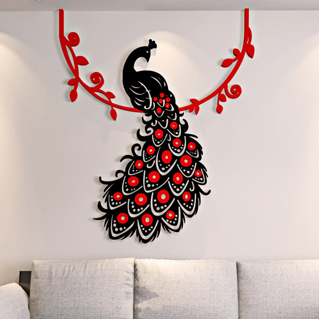 3D Wall Sticker Beautiful Phoenix Peacock Adesivos De Parede Living Room Decoration Chambre Deco Maison Autocollant Mural