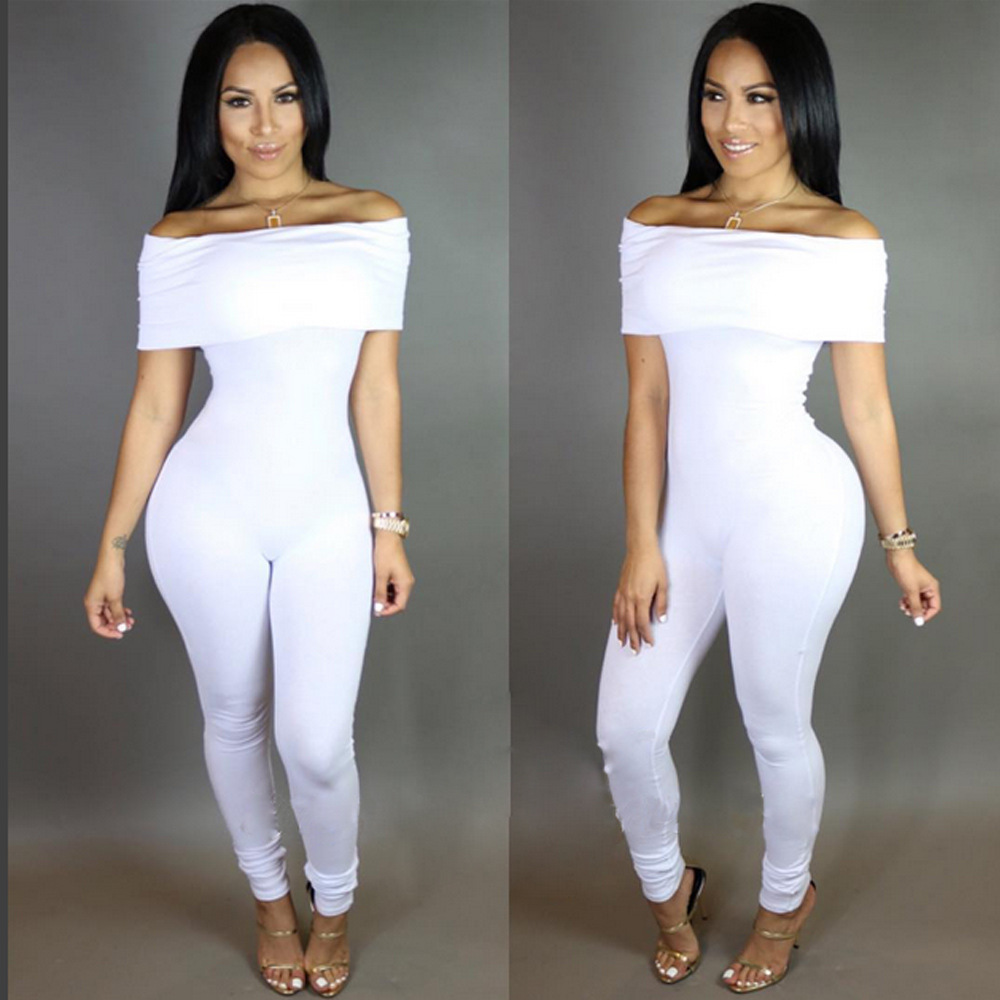 a99546d3e55 2018 Fashion Rompers Women Jumpsuit Bandage Long Pants Black White Off  Shoulder Elegant Jumpsuit Ladies Sexy Bodycon Bodysuit-in Jumpsuits from  Women s ...