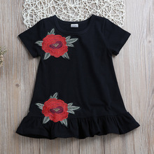 Kids Baby Girls Black Embroidery Flower Party Dress