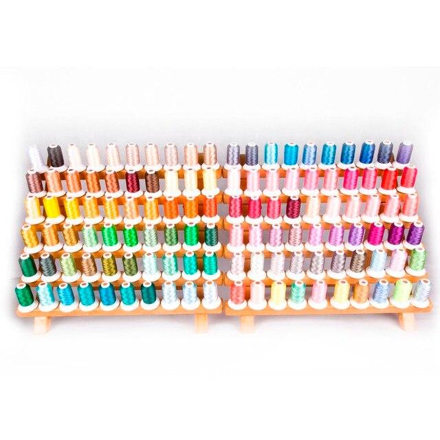 خيط التطريز المصنوع من البوليستر ، 120 لون لكل مجموعة لماكينات Brother Babylock Janome Singer Pfaff Husqvaran