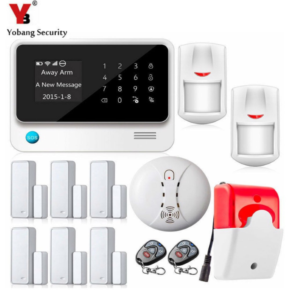 YobangSecurity WiFi Wireless Alarm System APP Touch Screen Home Alarm System with Door Sensor Smoke Alarm Detector Strobe Siren yobangsecurity touch keypad wireless wifi gsm home security burglar alarm system wireless siren wifi ip camera smoke detector