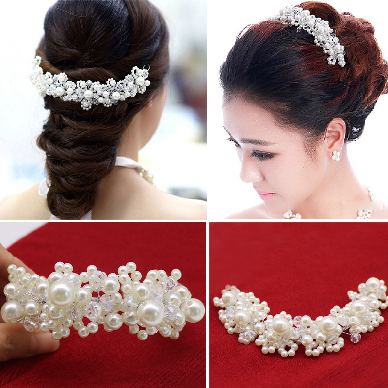 Fashion Pearl Crystal Headdress Wedding Hair Accessories for Bride Hairpins Bridal Hair Jewelry   Headwear   Decorations Hair Clips