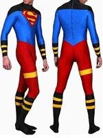 New Superboy Costume Lycra Spandex Zentai Superman Costumes custom adults/kids zentai catsuit Halloween party Skin suit