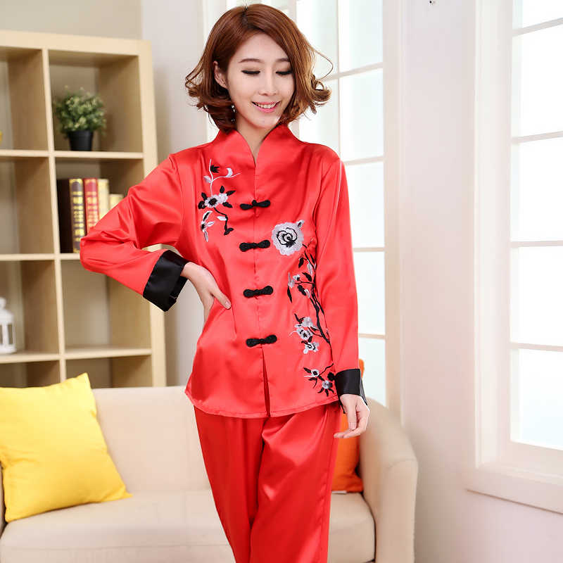 d7d89b26507fc Chinese Style Red Embroidery Lady Pajamas Set Spring Autumn New Satin  Sleepwear 2PCS Women Floral Pyjamas