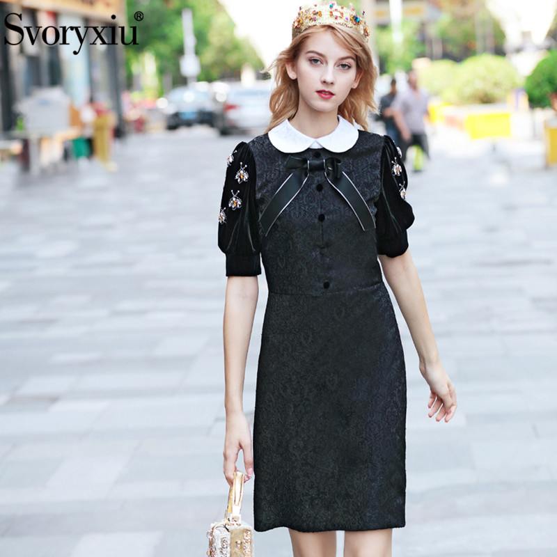 Svoryxiu Designer mode robe noire automne hiver femmes velours diamants manches bouffantes Patchwork Jacquard robes Vintage