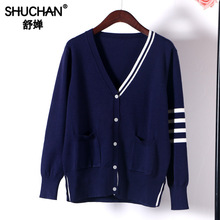 Shuchan Korean Sweater Preppy Style V-Neck Womens Free Knitted Autumn Winter 2019 New Items Pockets Loose Tops